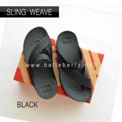 * NEW * FitFlop : SLING WEAVE : Black / Dark Shadow : Size US 10 / EU 43