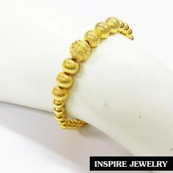 Inspire Jewelry ,สร้อยข้อมือเม็ดกลมตลอดเส้นเล็กใหญ่มีพ่นทรายสลับเม็ด ยาว19cm สวยงาม สำหรับการแต่งกายชุดไทย ชุดพื้นเมือง ใส่กับผ้าไทย การะเกตุ ตามรอยละคร แต่งไทย บุพเพสันนิวาส