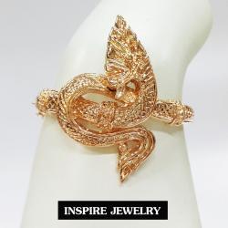 Inspire Jewelry ,กำไลพญานาคสีทองชมพู งานDesign สวยหรู ตัวเรือนขึ้นรูปด้วยทองเหลืองเนื้อดี ชุบทองชมพูเนื้อหนา งานจิวเวลลี่ ขนาด 5.5x5.5cm. พร้อมถุงกำมะหยี่ สำหรับประดับชุดไทย บูชา ใส่กับเสื้อผ้าทุกชุด สวยหรู