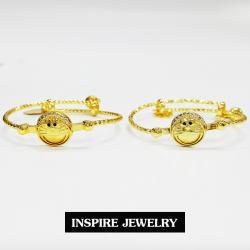Inspire Jewelry Brand กำไลข้อเท้าเด็ก 1คู่ งานแฟชั้นชั้นนำ อินเทรนมาก หน้าการ์ตูน ขยายไซด์ได้อีก พร้อมถุงกำมะหยี่