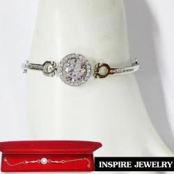 Inspire Jewelry สร้อยข้อมือเพชร เม็ดกลางกลมล้อมเพชร และสายเพชร งานจิวเวลลี่ แบบร้านเพชร งานน่ารัก ปราณีต สวยงาม พร้อมกล่องกำมะหยี่ เหมาะกับการแต่งกายทุกรูปแบบ