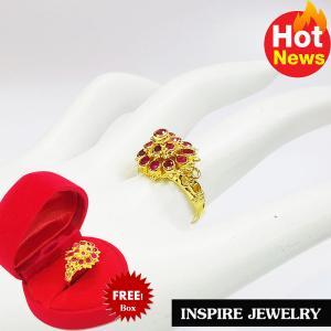 Inspire Jewelry ,แหวนพลอยทับทิมชาตั้ม ยกยอด งานจิวเวลลี่ แบบงานอนุรักษ์ไทย ตัวเรือน หุ้มทองแท้ 24K พร้อมกล่องกำมะหยี่ ลายตามที่โชว์ ลายโบราณ สวยงามมาก ปราณีต ใส่กับเสื้อผ้าไทย ชุดไทย ผ้าสไบ หรือใส่ประดับ ผ้าซิ่น ผ้าถุง ผ้าไหม