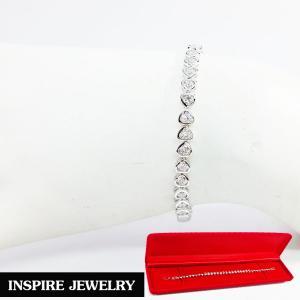 Inspire Jewelry, สร้อยข้อมือฝังเพชรสวิสเหลี่ยม H&A เกรด A+++ รูปหัวใจเรียงแถว ยาว 17cm. สวยงาม งานจิวเวลลี่ พร้อมกล่องกำมะหยี่ สำเนา