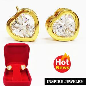 INSPIRE JEWELRY ต่างหูเพชรสวิสรูปหัวใจ งานจิวเวลลี่ gold plated
