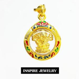 Inspire Jewelry จี้พระพิฒเนศ กรอบทองตอกลาย ลงยา สวยงาม งานปราณีต