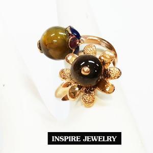 Inspire Jewelry ,แหวนหินตาเสือ ตัวเรือนหุ้มทองแท้ 100% 24K ลงยา ฟรีไซด์ นำโชค เสริมดวง โชคลาภ พร้อมถุงกำมะหยี่