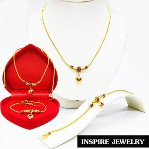 Inspire Jewelry ,ชุดเซ็ทสร้อยคอทองสังวาลย์และสร้อยข้อมือ ห้อยหัวใจ ลงยาคุณภาพ หุ้มทองแท้ 100% 24K พร้อมกล่องกำมะหยี่สวยหรู