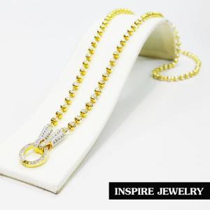 Inspire Jewelry ,สร้อยคอเม็ดอิตาลีลายเม็ดมะยม 2 กษัตริย์ 24 นิ้ว หัวจรวดเพชร และห่วงใส่จี้ฝังเพชร ใส่จี้ขนาดใหญ่ได้ (ขนาดเม็ด 5 มิล) สวยหรู คงทน งานคุณภาพ