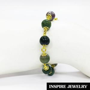 Inspire Jewelry ,สร้อยข้อมือหยก ร้อยรอบข้อมือด้วยอะไหล่ทองเหลือง เป็นเครื่องประดับมงคลอย่างมาก นำโชค เสริมดวง