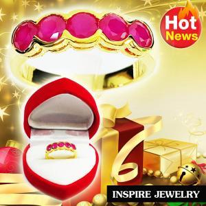 Inspire Jewelry ,แหวนทับทิมชาตั้ม ฝังล็อค ตัวเรือน หุ้มทองแท้ 100% 24K สวยหรู พร้อมกล่องกำมะหยี่
