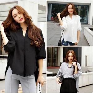 เสื้อไซส์ใหญ่ คอวี ทรงปล่อย สีดำ/สีขาว/สีเทา (XL,2XL,3XL,4XL,5XL) E3109
