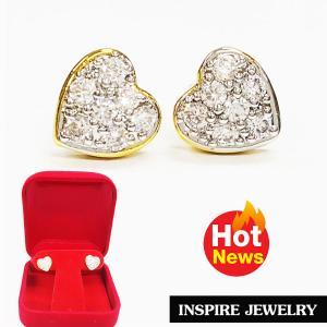 INSPIRE JEWELRY ต่างหูรูปหัวใจฝังเพชรสวิส ฝ งานจิวเวลลี่ gold plated 100%