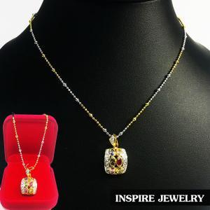 Inspire Jewelry ,สร้อยคอสองกษัติย์พร้อมจี้นพเก้าสีทอง น่ารัก เสริมมงคล แก้ชง พร้อมกล่องกำมะหยี่
