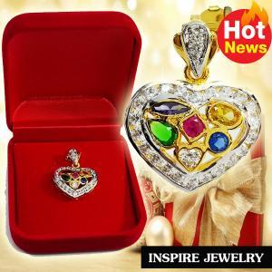 Inspire Jewelry , จี้พลอยนพเก้าล้อมเพชรรูปหัวใจ งานจิวเวลลี่ ขนาด2cm. พร้อมกล่องกำมะหยี่ ตัวเรือนหุ้มทองแท้ 100% 24K นำโชค เสริมดวง โชคลาภ