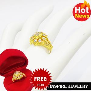 Inspire Jewelry ,แหวนพลอยขาว ยกยอด งานจิวเวลลี่ แบบงานอนุรักษ์ไทย ตัวเรือน หุ้มทองแท้ 24K พร้อมกล่องกำมะหยี่ ลายตามที่โชว์ ลายโบราณ สวยงามมาก ปราณีต ใส่กับเสื้อผ้าไทย ชุดไทย ผ้าสไบ หรือใส่ประดับ ผ้าซิ่น ผ้าถุง ผ้าไหม