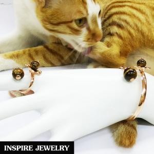Inspire Jewelry , ชุดเซ็ทกำไลและแหวนหินตาเสือ ตัวเรือนหุ้มทองแท้ 100% 24K ลงยา ฟรีไซด์ นำโชค เสริมดวง โชคลาภ พร้อมถุงกำมะหยี่