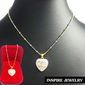 Inspire Jewelry ,สร้อยคอสองกษัติย์ ยาว 16นิ้ว พร้อมจี้เพชรสวิสรูปหัวใจ สวยงาม ปราณีต งานจิวเวลลี่ น่ารัก พร้อมกล่องกำมะหยี่