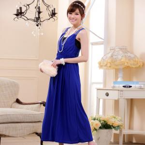♥พร้อมส่ง♥ ชุดราตรียาว คอวี สีน้ำเงิน ไซส์ F