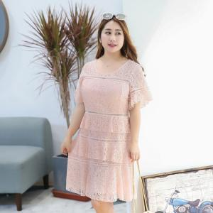 ♥พร้อมส่ง♥ ชุดเดรสผ้าลูกไม้สีชมพูพีช คอกลม ติดซิปหลัง ช่วงกระโปรงแต่งเลเยอร์ระบายสวย อก 46 [DQ-0076]