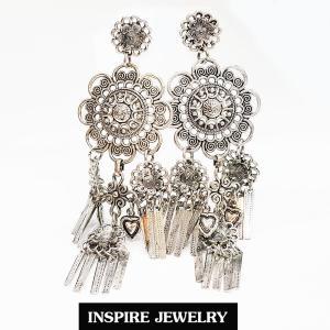 Inspire Jewelry ,ต่างหูเทียมเงิน แบบโบราณ สีเงิน สวยงาม สำหรับการแต่งกายชุดไทย ชุดพื้นเมือง ใส่กับผ้าไทย การะเกตุ ตามรอยละคร แต่งไทย บุพเพสันนิวาส เครื่องเงิน
