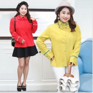 เสื้อเชิ้ตไซส์ใหญ่ แต่งโบว์น่ารัก ๆ แขนยาว สีแดง/สีเหลืองมะนาว (XL,2XL,3XL) QS905