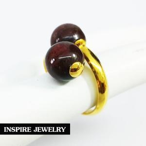 Inspire Jewelry แหวนหัวหินเรดไทเกอร์ ตัวเรือนชุบทองแท้ 100% 24K ฟรีไซด์ พร้อมถุงกำมะหยี่