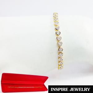 Inspire Jewelry, สร้อยข้อมือฝังเพชรสวิสเหลี่ยม H&A เกรด A+++ รูปหัวใจเรียงแถว ยาว 17cm. สวยงาม งานจิวเวลลี่ พร้อมกล่องกำมะหยี่