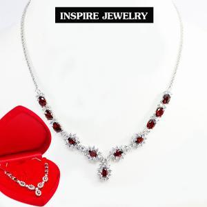Inspire Jewelry ,สร้อยคอสังวาลย์พลอยโกเมนล้อมเพชรสวิส งานจิวเวลลี่ พร้อมกล่องกำมะหยี่ ตัวเรือนหุ้มทองขาว สวยงาม ปราณีต เหมาะกับการแต่งกายทุกแบบ