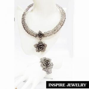 Inspire Jewelry ,โชคคอเทียมเงินรมดำแบบโบราณ พร้อมกำไล สวยงาม สำหรับการแต่งกายชุดไทย งานบวชนาก ชุดพื้นเมือง ใส่กับผ้าไทย การะเกตุ ตามรอยละคร แต่งไทย บุพเพสันนิวาส