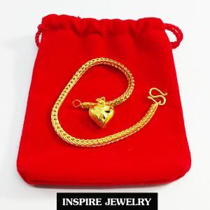 Inspire Jewelry ,สร้อยข้อมือลายสี่เสา ห้อยหัวใจทองตอกลาย ยาว 17cm. เส้นขนาด 1 บาท