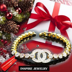 Inspire Jewelry สร้อยข้อมือเพชร งานอินเทรนแฟชั่นชั้นนำ ตัวเรือนหุ้มทองแท้ 24K สวยหรู พร้อมกล่องกำมะหยี่