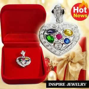 Inspire Jewelry , จี้พลอยนพเก้าล้อมเพชรรูปหัวใจ งานจิวเวลลี่ ขนาด2cm. พร้อมกล่องกำมะหยี่ ตัวเรือนหุ้มทองขาว นำโชค เสริมดวง โชคลาภ