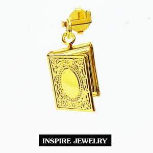 Inspire Jewelry ,จี้ล็อคเก็ตใส่ภาพได้ เปิดปิดได้ เป็นรูปสมุด สีทอง น่ารัก เสริมมงคล แก้ชง พร้อมถุงกำมะหยี่