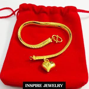 Inspire Jewelry ,สร้อยข้อมือลายเลตแบนขัดเงา ห้อยหัวใจทองตอกลาย ยาว 17cm. เส้นขนาด 1 บาท พร้อมถุงกำมะหยี่
