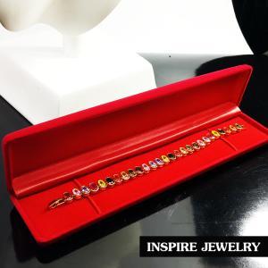 Inspire Jewelry สร้อยข้อมือพลอยนพเก้า เสริมดวง งานจิวเวลลี่ ฝังล็อคแบบร้านเพชร ยาว 18cm. ตัดไซด์ได้ที่ร้านนาฬิกา งานอินเทรนแฟชั่นชั้นนำ ตัวเรือนหุ้มทองแท้ 24K สวยหรู พร้อมกล่องกำมะหยี่