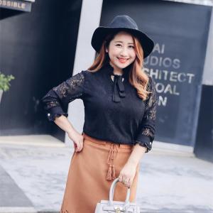 ♥พร้อมส่ง♥ เสื้อลูกไม้สีดำแขนยาว ช่วงคอเสื้อมีโบว์ผูกเพิ่มความเก๋ (4XL) อก 46