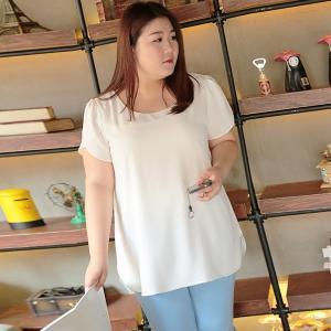 เสื้อชีฟองไซส์ใหญ่แขนสั้นกลีบบัว สีขาว (5XL,6XL,7XL,8XL) MX30403