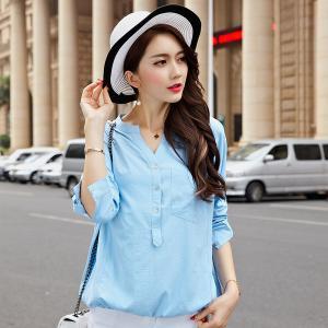 ♥พร้อมส่ง♥ เสื้อทีเชิ้ตแขนยาวไซส์ใหญ่สไตล์เกาหลี สีฟ้า (3XL) A~3088