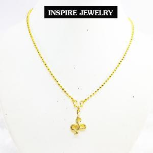 Inspire Jewelry ,สร้อยคอทองพร้อมจี้พญานาคสีทอง น่ารัก เสริมมงคล แก้ชง พร้อมถุงกำมะหยี่
