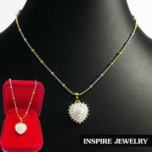 "Inspire Jewelry ,สร้อยคอสองกษัติย์ ยาว 16"" พร้อมจี้เพชรสวิสรูปหัวใจ สวยงาม ปราณีต งานจิวเวลลี่ น่ารัก พร้อมกล่องกำมะหยี่"