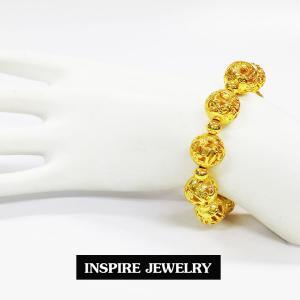 Inspire Jewelry ,สร้อยข้อมือ แบบโบราณ สีทอง สวยงาม สำหรับการแต่งกายชุดไทย ชุดพื้นเมือง ใส่กับผ้าไทย การะเกตุ ตามรอยละคร แต่งไทย บุพเพสันนิวาส เครื่องเงิน