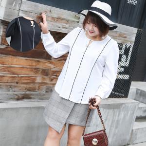 เสื้อชีฟองคอกลมแขนยาว สีขาว/สีดำ (XL,2XL,3XL) Ai-1803