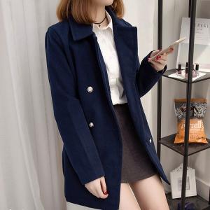 ♥พร้อมส่ง♥ เสื้อแจ็คเก็ตไซส์ใหญ่ทำจากผ้าขนสัตว์ สีน้ำเงิน (XL อก 40) #98242