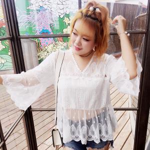 ♥พร้อมส่ง♥ เสื้อลูกไม้สีขาว คอวี แขนยาว (2XL,3XL) Ai~2106