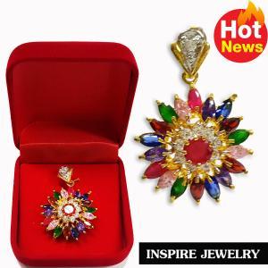 Inspire Jewelry , จี้พลอยนพเก้าเหลี่ยมมาคี งานDesign และฝังเพชรสวิสรอบวงใน งานจิวเวลลี่ สวยงาม ปราณีต เหมาะกับชุดไทย ชุดผ้าฝ้าย การแต่งกายทุกรูปแบบ ตัวเรือนหุ้มทองแท้100% 24K พร้อมกล่องกำมะหยี่