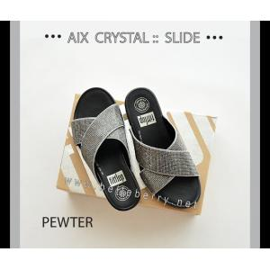 * NEW * FitFlop AIX Crystal Slide : Pewter : Size US 6 / EU 37
