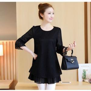 ♥พร้อมส่ง♥ เสื้อชีฟองตัวยาวสีดำ แขนสี่ส่วน (3XL) อก 40