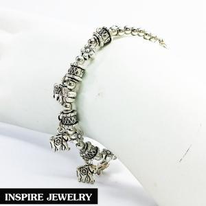 Inspire Jewelry สร้อยข้อมือห้อยช้าง ชุบเงินรมดำ น่ารักมาก งานอินเทรนแฟชั่น สวยหรู