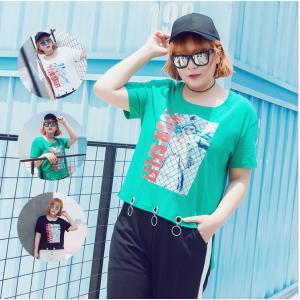 เสื้อยืดสตรีทแฟชั่นคอกลมสกรีนลาย สีขาว/สีดำ/สีเขียว (XL,2XL,3XL)