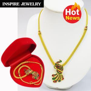 Inspire Jewelry ,สร้อยคอทองสังวาลย์นกยูงลงยา สวยงาม ปราณีต หุ้มทองแท้ 100% 24K พร้อมกล่องกำมะหยี่สวยหรู